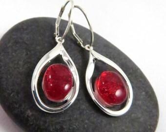 Elegant Teardrop Earrings - Candy Apple Red - Fused Glass Earrings