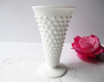 Vintage Fenton Milk Glass Hobnail Vase - Tea Parties Bridal