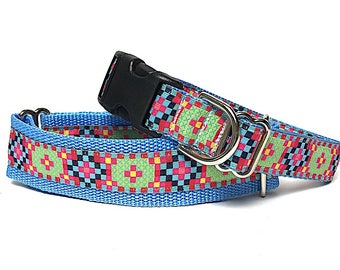 Blue martingale dog collar or tag / buckle collar, GRAPHIC blue and pink, Safety Collar, Greyhound Collar, Sighthound Collar