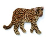 Beaded LEOPARD pin oversized bead embroidery animal brooch (Made to Order)