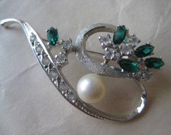 Modern Green Clear Stone Brooch Pearl 915 Silver Vintage Pin Mod