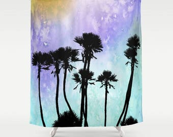Shower Curtains Art Shower Curtain Bath Bathroom Design 53 Palm Tree Silhouette turquoise aqua purple L.Dumas
