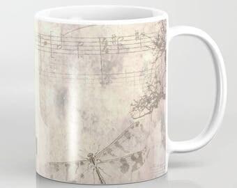 Coffee Mug Cup Art Drinkware Design 39 antique look dragonfly candelabra 11oz or 15oz digital art by L.Dumas