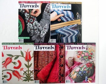 Vintage 1988 - 1989 Threads Magazine, Nos. 14, 21 to 24 with Index