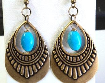 "Earrings, Antique Bronze Blue Chalk turquoise Fancy Drops, 2 3/4"" Long, Gift for her, Boho Bold"