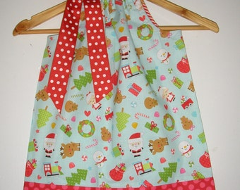 Christmas dress  pillowcase dress aqua  red Riley Blake   fabric size 3,6,9,12,18, months 2t,3t,4t,5t,6,7,8,10,12