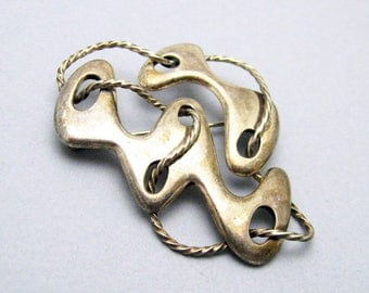 Sigi Pineda Modernist Sterling Brooch Vintage Tasco Jewelry P6983