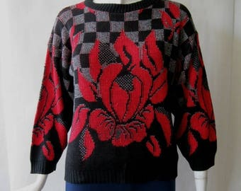 MOVING 4 GRADSCHOOL SALE 1980's sweater, bold red flower and checker patterned in black, gray, and red, Osfm