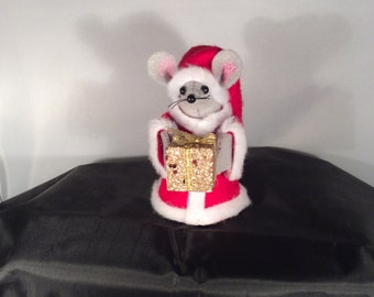 Santa Mouse with Gift. NEW LOWER PRICE