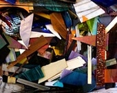 Stained Glass Scraps, Assorted Colors, Sizes, Textures, for Mosaics, 16 lb box, recycled glass