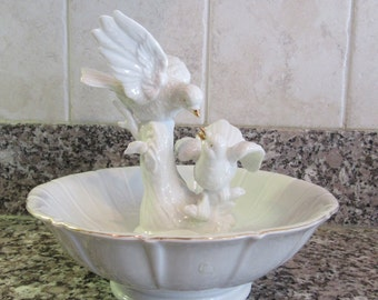 Beautiful white footed candy dish with birds on branch interior figurine- fine condition, no visible defects, functional