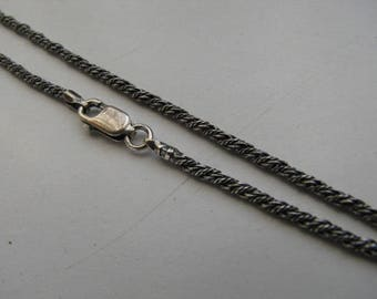 36 inch Necklace, Sterling Silver Antique Oxidized 2.5mm Rope Chain Necklace with Lobster Clasp, Long Chain also for layering