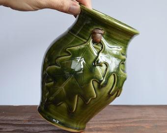 Vase ceramic, decorative oak leaf acorn, one of a kind home decor, glazed in green, handmade by hughes pottery