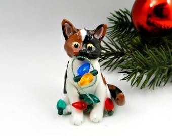 Calico Cat Christmas Ornament Figurine Lights Porcelain