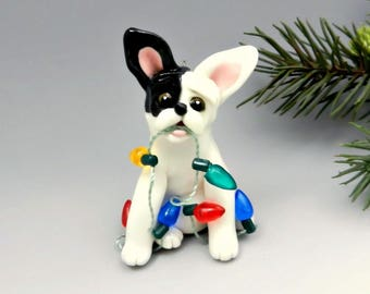 French Bulldog White Black Christmas Ornament Lights Porcelain