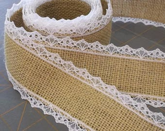 LAST CHANCE! Natural Burlap ribbon with WHITE Lace
