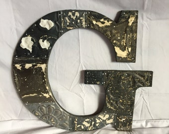 """Reclaimed  Tin Ceiling Wrapped 16"""" Letter """"G"""" Patchwork Metal Bare Metal Mosaic Wall Hanging 37-17i"""