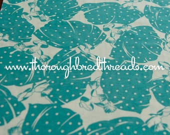 Fancy Ladies - Vintage Fabric Full Feedsack 50s 60s Novelty Turquoise Polka Dots