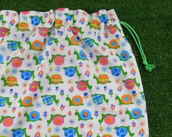 Snails child's unisex library bag, toy bag or kindy sheet bag, large cotton drawstring bag