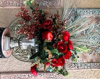 Red Roses Silk Flower Arrangement Centerpiece