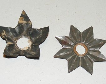 Antique Heavy Metal Tin Light Reflector Cristmas Decoration Lot of 2 Bulb cover
