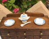 Dollhouse Miniature White with Blue Flowers Soup Tureen and Plates
