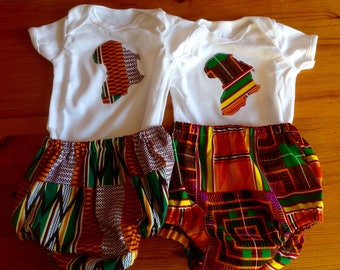 Kente Africa appliqué cotton bodysuit onesie and matching pants nappy cover