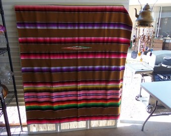 """Mexican Blanket Sarape Satillo 59"""" Wide by 84"""" Long"""