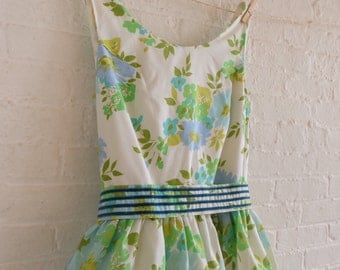 Spring Tea dress {Teal Bouquet} size 12 -14