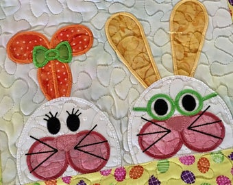 Quilted  HAPPY EASTER  Wall Hanging. . . Whimsy Applique  BUNNY . . . Wall Hanger wirh Sparkles  . . . Seasonal Wall Decor