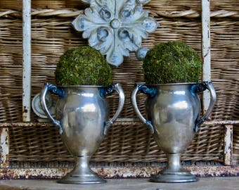 Vintage Shabby Chic Lovely Pair Of Triple Handle Silver Trophies