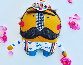 Mr. Mustache // one-of-a-kind // Ready to Ship // Can be hung as wall decor