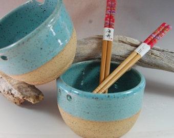 Pottery Rice Bowl Set, Turquoise Noodle Bowl! Chopsticks Handmade Serving