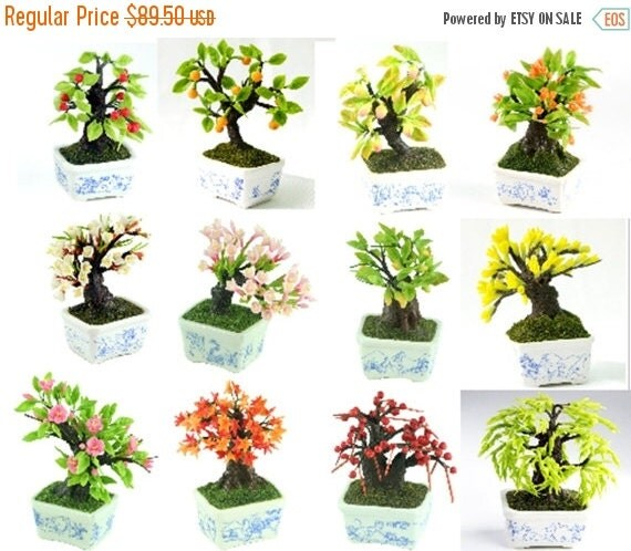 Miniature Polymer Clay Bonsai Supplies for Dollhouse and Handmade Gifts 12 pcs
