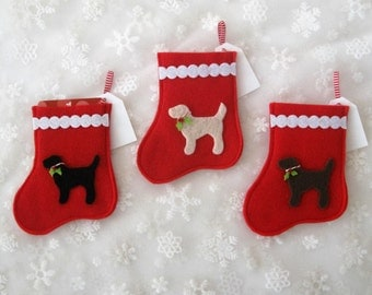 Holly Jolly Labrador Mini Stocking - Ornament & Gift Card Holder