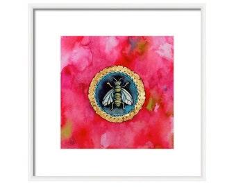 Bee Watercolor Art Print, Bee Wall Decor, Bee Art, Honeybee, Bumble Bee, Bee Seal