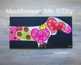 Dachshund Art on Wood Yellows  Pinks and Oranges Hearts