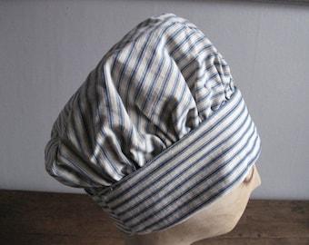 Sale - 30% - Vintage 1920s Cloche - Hat - Stripes - Blue White - 20s Cloche