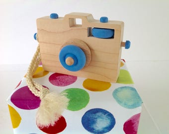 Wooden Toy Camera, Wood Camera, Toddler Toy, Handmade Toy, Baby Gift, Camera Prop, Light Blue