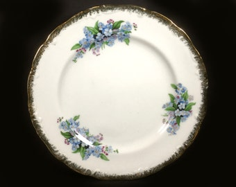 Vintage Japanese China - Dessert or Serving Plate, Blue Forget Me Nots, Embossed Gold Rim