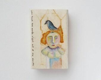 you took - original wood block portrait, teabag paper, oil pastel