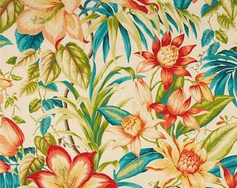 Exotic Floral Shower Curtain, Botanical Shower Curtain, Tropical Shower Curtain, Designer Shower Curtain, Summer Decor, Orange, Blue, Green