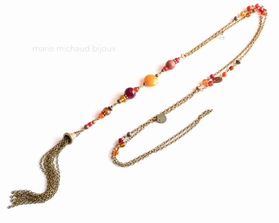 Long rend and orange boho necklace with tassel,Red Orange necklace,Boho necklace,Boho necklace with tassel,Red necklace with tassel