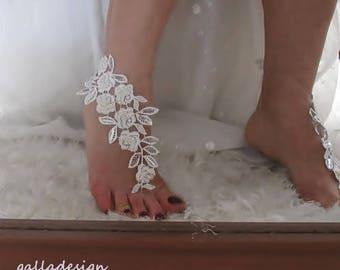 Beach bridal, footwear, sandal, wedding ivory lace, pearl beaded, sequin lace Beach ,Brautsandalen, Sandales de mariée, Free shipping