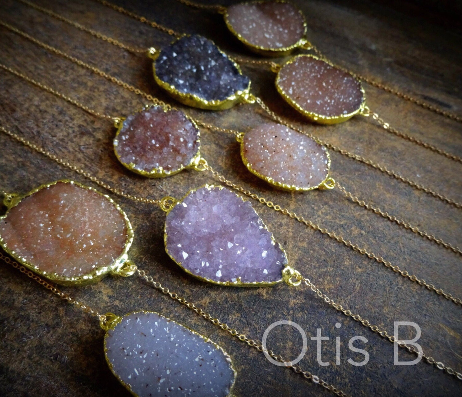 Agate druzy necklace, trending fashion accesories, boho, rock crystals, geode, minerals, Otis B, gold Layering necklace, bohemian, gemstones