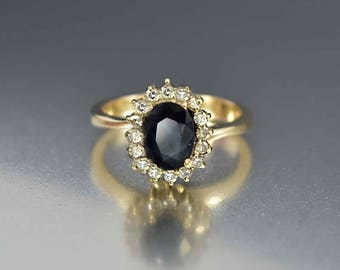 Vintage Gold Diamond Sapphire Halo Ring, 14K Gold Engagement Ring, Sapphire Ring, Bohemian Stacking Birthstone Ring, Diamond Promise Ring