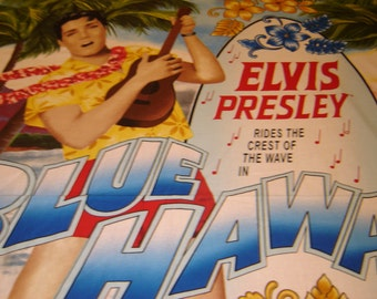 Elvis Presley Fabric, Blue Hawaii, OOP, Rare And Hard To Find, Large Quilting Panel