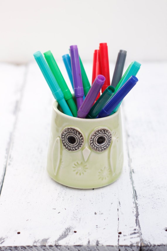 light green owl pot