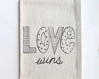 Cotton Kitchen Towel - Love Wins - Choose your ink color