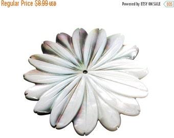 SALE Mother of Pearl Pendant, Flower Pendant, 46mm, SKU 3818
